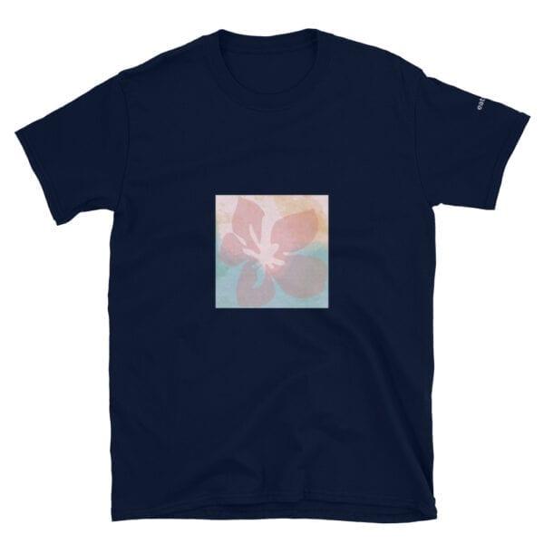pink flower on dark blue t-shirt by eatsalt.com