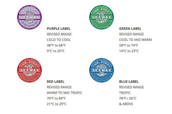Mr Zog's Quick Humps Surfwax Colour Guide