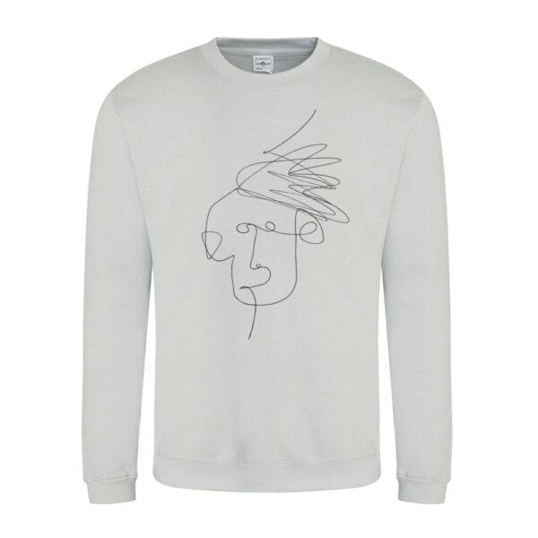Heather Grey Mim Beck Line Drawing Design Sweatshirt by Eatsalt