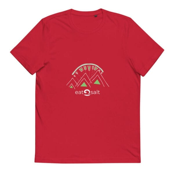 red t-shirt with lime and white mountain eat salt design