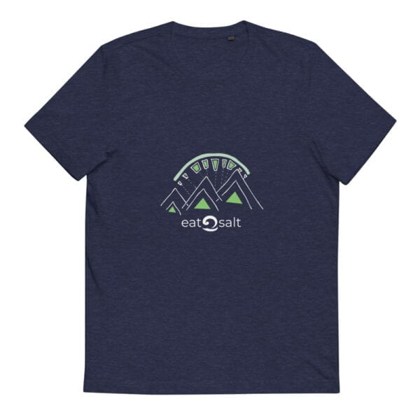 dark blue heather t-shirt with lime and white mountain eat salt design