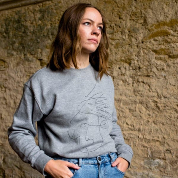 Grey unisex sweater with Mim Beck design - Mim Beck