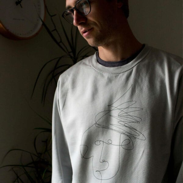 Grey unisex sweater with Mim Beck design - man