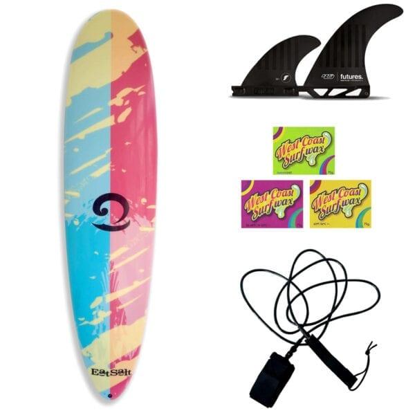 """Eatsalt 7'6"""" Surfboard Package Deal with Fins, Leash + Surf Wax"""