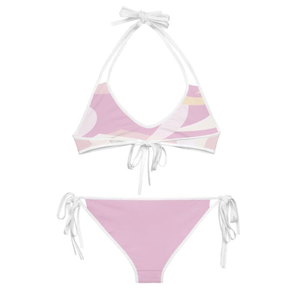 Eatsalt pink wave bikini with white straps