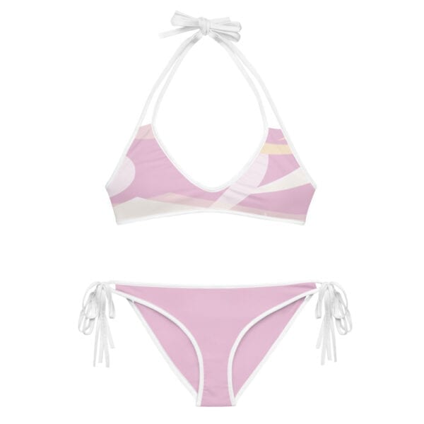 Eatsalt pink wave bikini with white straps - alt