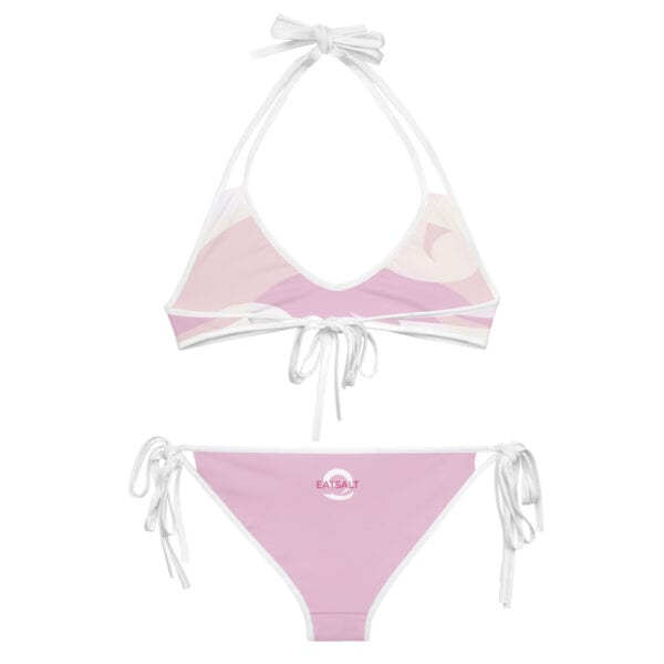 Eatsalt pink wave bikini with white straps - back