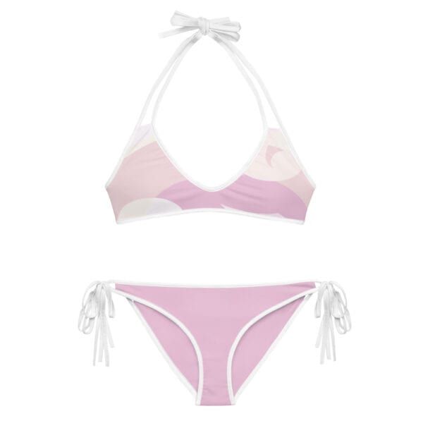 Eatsalt pink wave bikini with white straps 2