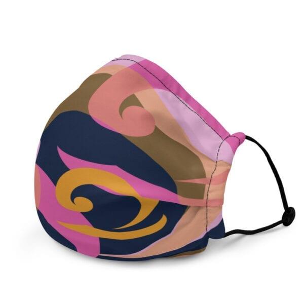 Pink, blue and orange face mask with wave design