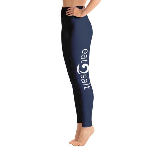 Eatsalt yoga leggings, navy blue - side eatsalt logo