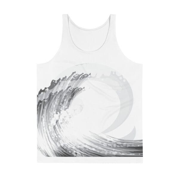 summer/beach white tank vest - grey wave front design