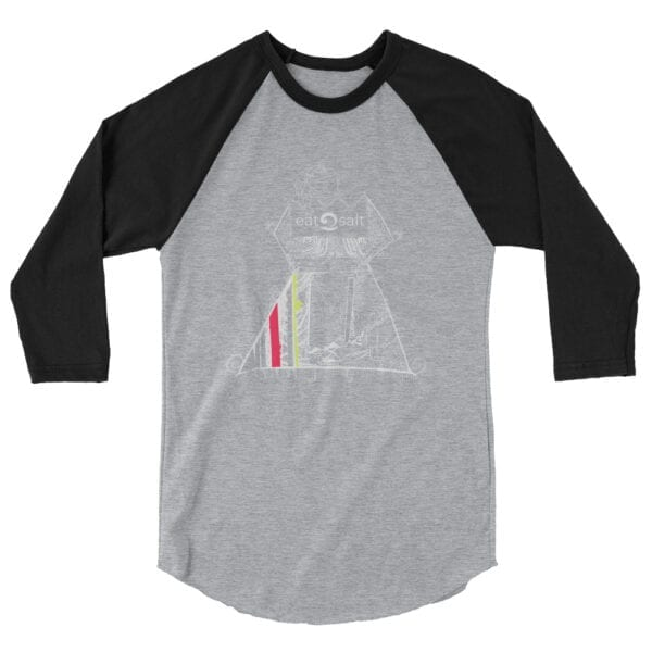 Queen of the surf line design 3/4 tee by Mim Beck - black sleeves