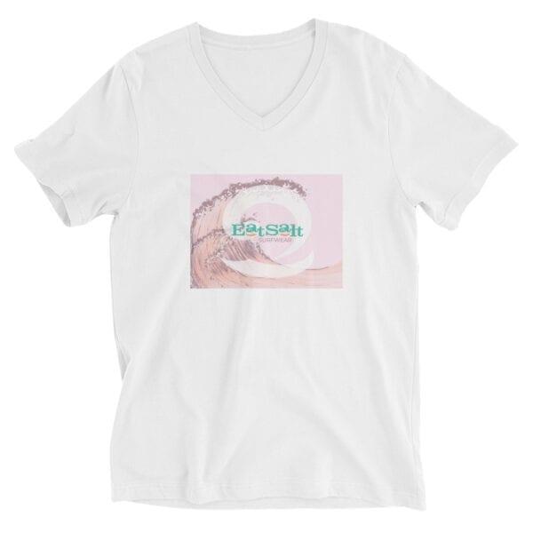 white eatsalt women's t-shirt with pink eat salt wave design