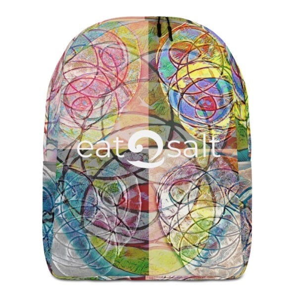 Front of colourful eatsalt backpack