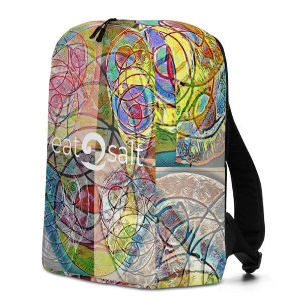 Right side of colourful eatsalt backpack