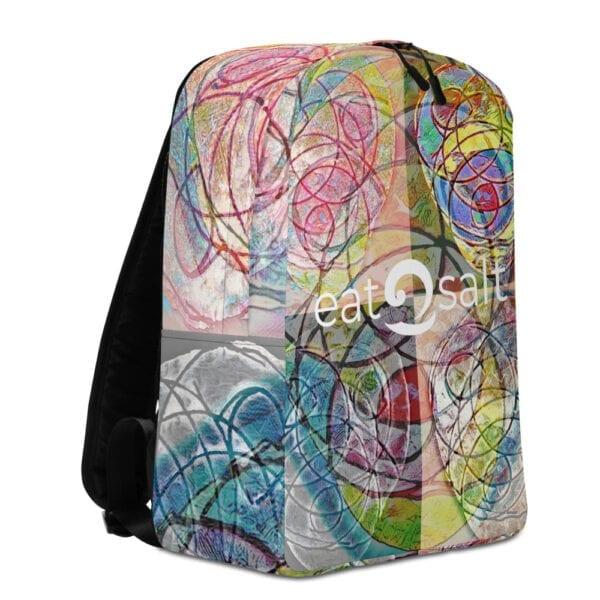 Left side of colourful eatsalt backpack